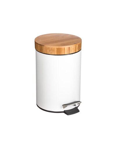 Κάδος αποριμ.πεντάλ 3L λευκό bamboo καπάκι 07.140801