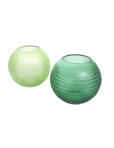 Κηροπήγιο γυαλ.μπουλ 2 πράσινα χρ. 15εκ. 014.GW1509A