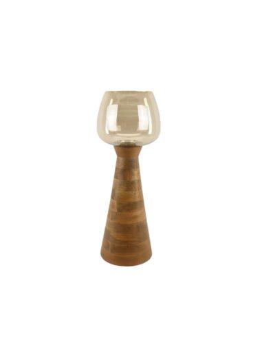 κηροπήγιο ξύλινο με γυαλί 70εκ. 012.912013012