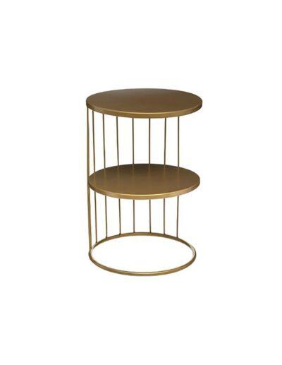 Τραπέζι πλαινό μεταλ.χρυσό 2οροφο Φ36Χ52 07.157206D
