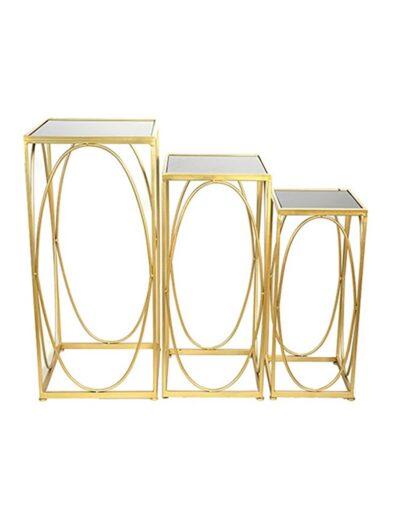 Τραπέζι πλαινό μεταλ.χρυσό με γυαλί 26Χ26Χ63 013.779685A